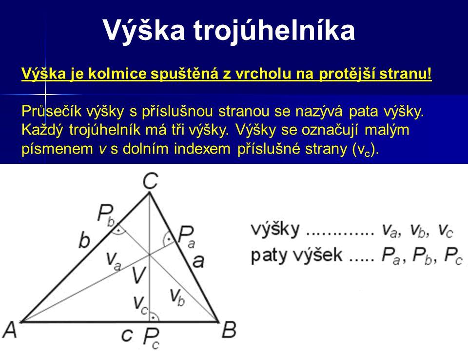 Výška trojúhelníka Výška je kolmice spuštěná z vrcholu na protější stranu! Průsečík výšky s příslušnou stranou se nazývá pata výšky. Každý trojúhelník