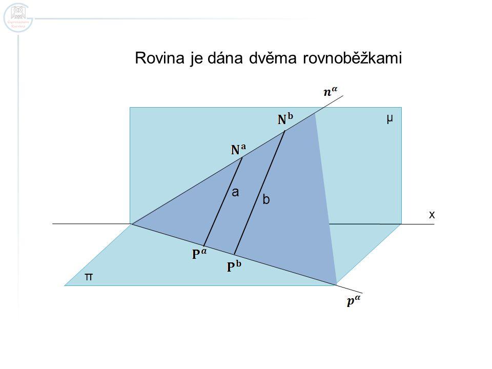 x Rovina je dána dvěma rovnoběžkami π μ a b