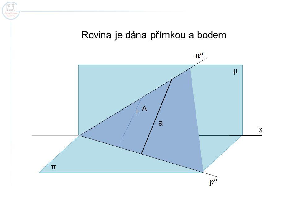 x Rovina je dána přímkou a bodem π μ a A