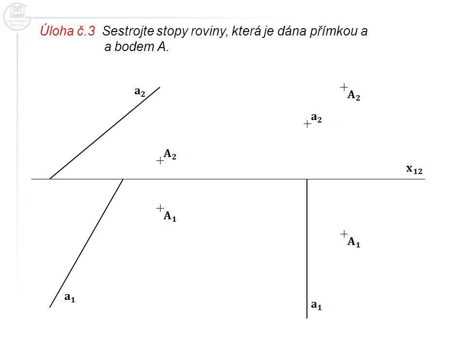 Úloha č.3 Sestrojte stopy roviny, která je dána přímkou a a bodem A.