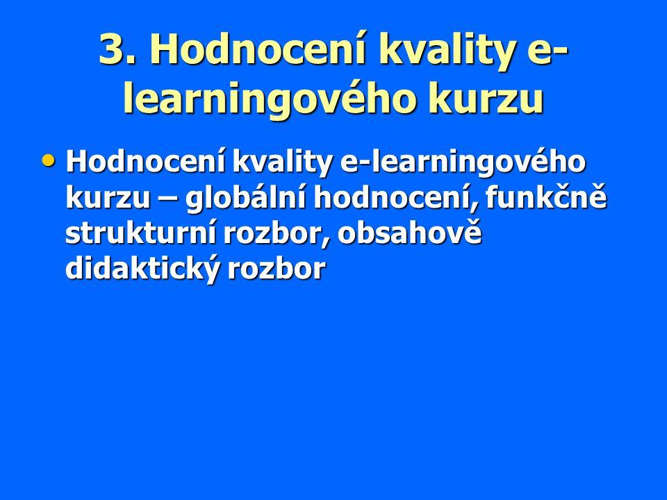3. Hodnocení kvality e- learningového kurzu Hodnocení kvality e-learningového kurzu – globální hodnocení, funkčně strukturní rozbor, obsahově didaktic