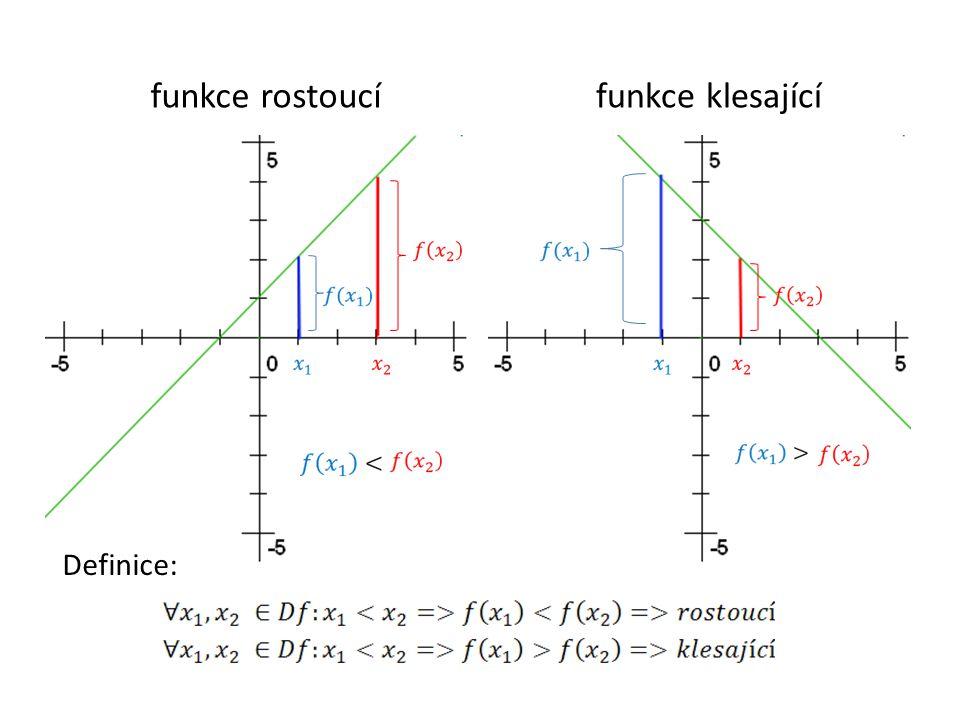 Poznámka: Konstantní funkce: Funkce, která je v celém svém definičním oboru buď pouze rostoucí, a nebo pouze klesající, se nazývá prostá.