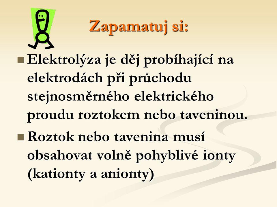 Zapamatuj si: Elektrolýza je děj probíhající na elektrodách při průchodu stejnosměrného elektrického proudu roztokem nebo taveninou. Roztok nebo taven