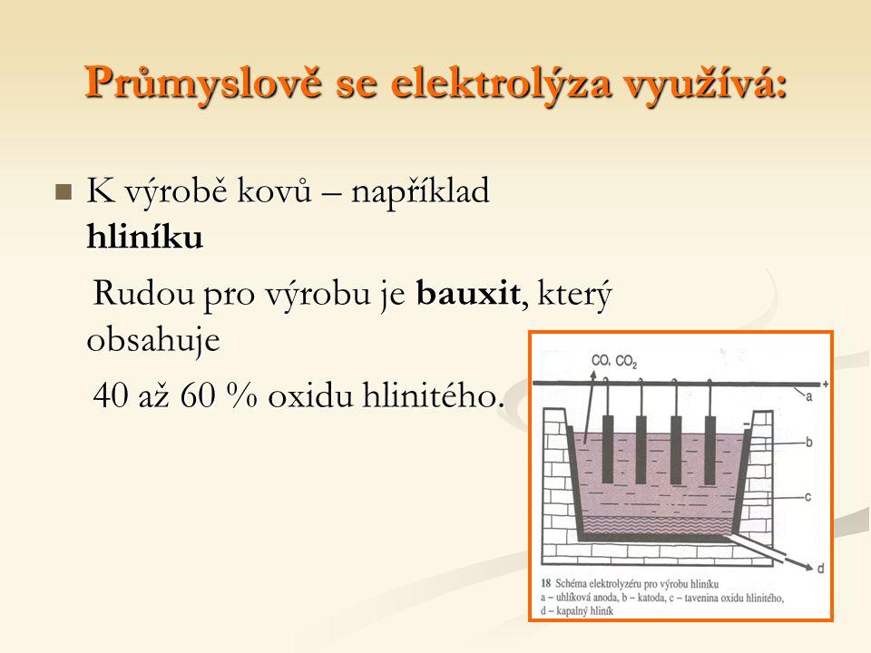 Průmyslově se elektrolýza využívá: K výrobě kovů – například hliníku Rudou pro výrobu je bauxit, který obsahuje 40 až 60 % oxidu hlinitého.