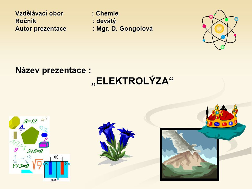 Vzdělávací obor : Chemie Ročník : devátý Autor prezentace : Mgr. D. Gongolová Vzdělávací obor : Chemie Ročník : devátý Autor prezentace : Mgr. D. Gong
