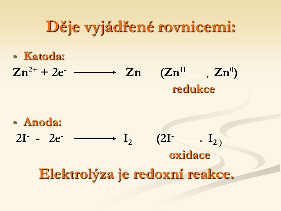Děje vyjádřené rovnicemi:  Katoda: Zn 2+ + 2e - Zn (Zn II Zn 0 ) redukce redukce  Anoda: 2I - - 2e - I 2 (2I - I 2 ) 2I - - 2e - I 2 (2I - I 2 ) oxidace oxidace Elektrolýza je redoxní reakce.