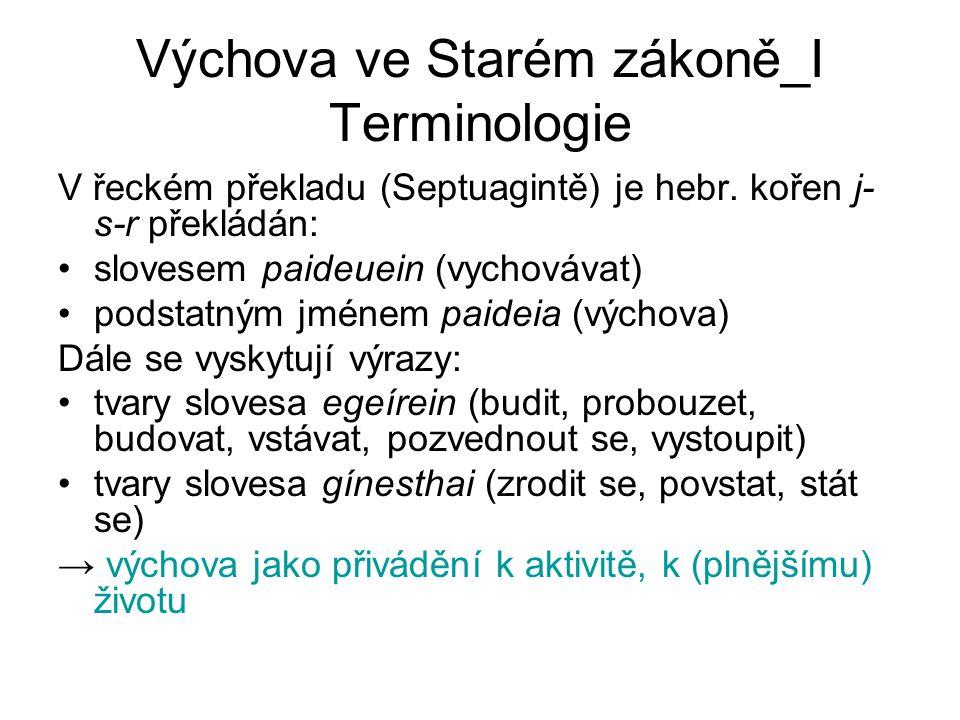 Výchova ve Starém zákoně_I Terminologie latinské výrazy (Vulgáta): výchova: ēducātiō, disciplīna (vyučovací předmět, společenská) vychovatel: ēducātor (nevlastního dítěte), nūtrīcius (živitel, sr.