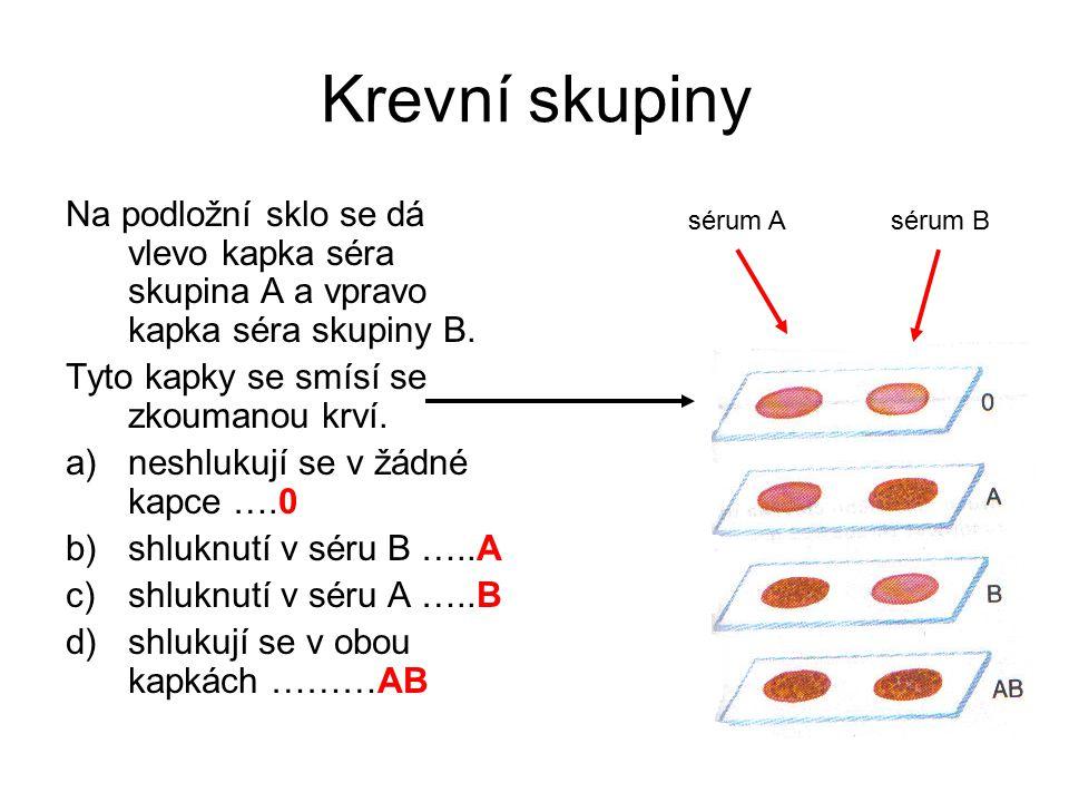 Krevní skupiny Na podložní sklo se dá vlevo kapka séra skupina A a vpravo kapka séra skupiny B. Tyto kapky se smísí se zkoumanou krví. a)neshlukují se