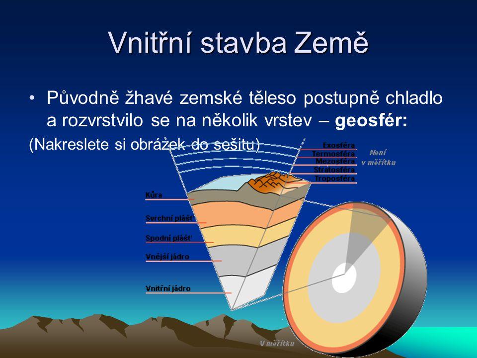 Vnitřní stavba Země Původně žhavé zemské těleso postupně chladlo a rozvrstvilo se na několik vrstev – geosfér: (Nakreslete si obrázek do sešitu)