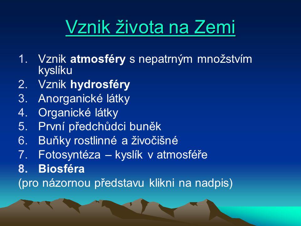 Vznik života na Zemi Vznik života na Zemi 1.Vznik atmosféry s nepatrným množstvím kyslíku 2.Vznik hydrosféry 3.Anorganické látky 4.Organické látky 5.P