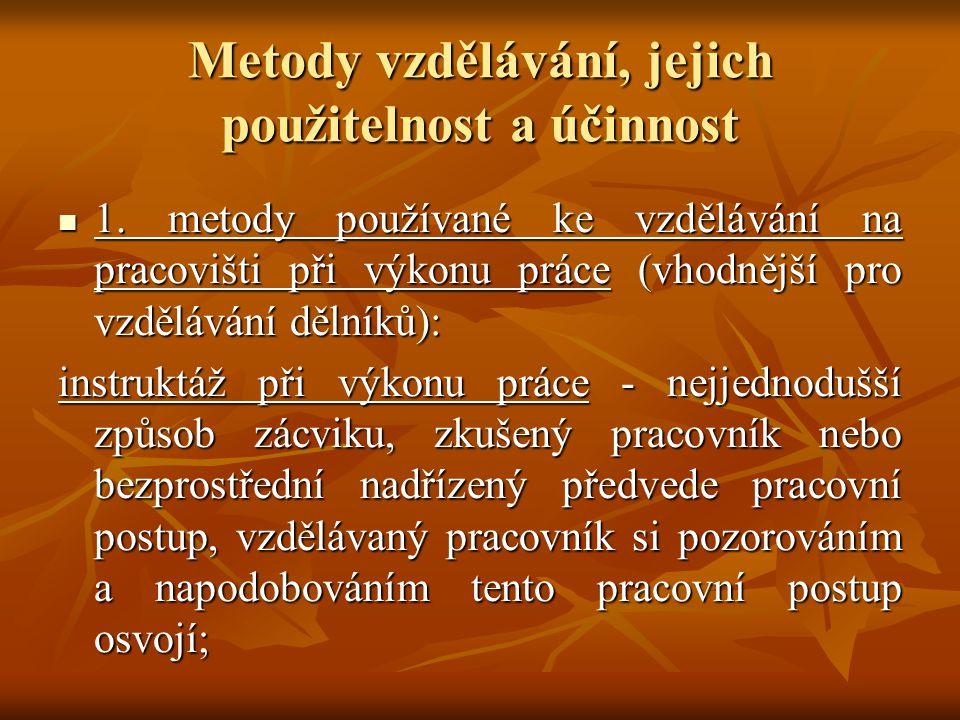 Metody vzdělávání, jejich použitelnost a účinnost 1.