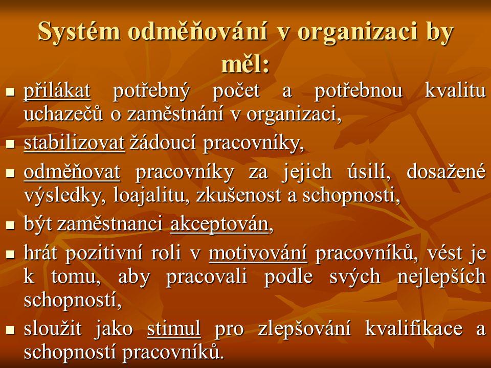 Systém odměňování v organizaci by měl: přilákat potřebný počet a potřebnou kvalitu uchazečů o zaměstnání v organizaci, přilákat potřebný počet a potřebnou kvalitu uchazečů o zaměstnání v organizaci, stabilizovat žádoucí pracovníky, stabilizovat žádoucí pracovníky, odměňovat pracovníky za jejich úsilí, dosažené výsledky, loajalitu, zkušenost a schopnosti, odměňovat pracovníky za jejich úsilí, dosažené výsledky, loajalitu, zkušenost a schopnosti, být zaměstnanci akceptován, být zaměstnanci akceptován, hrát pozitivní roli v motivování pracovníků, vést je k tomu, aby pracovali podle svých nejlepších schopností, hrát pozitivní roli v motivování pracovníků, vést je k tomu, aby pracovali podle svých nejlepších schopností, sloužit jako stimul pro zlepšování kvalifikace a schopností pracovníků.