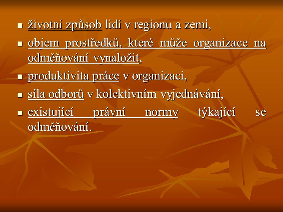 životní způsob lidí v regionu a zemi, životní způsob lidí v regionu a zemi, objem prostředků, které může organizace na odměňování vynaložit, objem prostředků, které může organizace na odměňování vynaložit, produktivita práce v organizaci, produktivita práce v organizaci, síla odborů v kolektivním vyjednávání, síla odborů v kolektivním vyjednávání, existující právní normy týkající se odměňování.