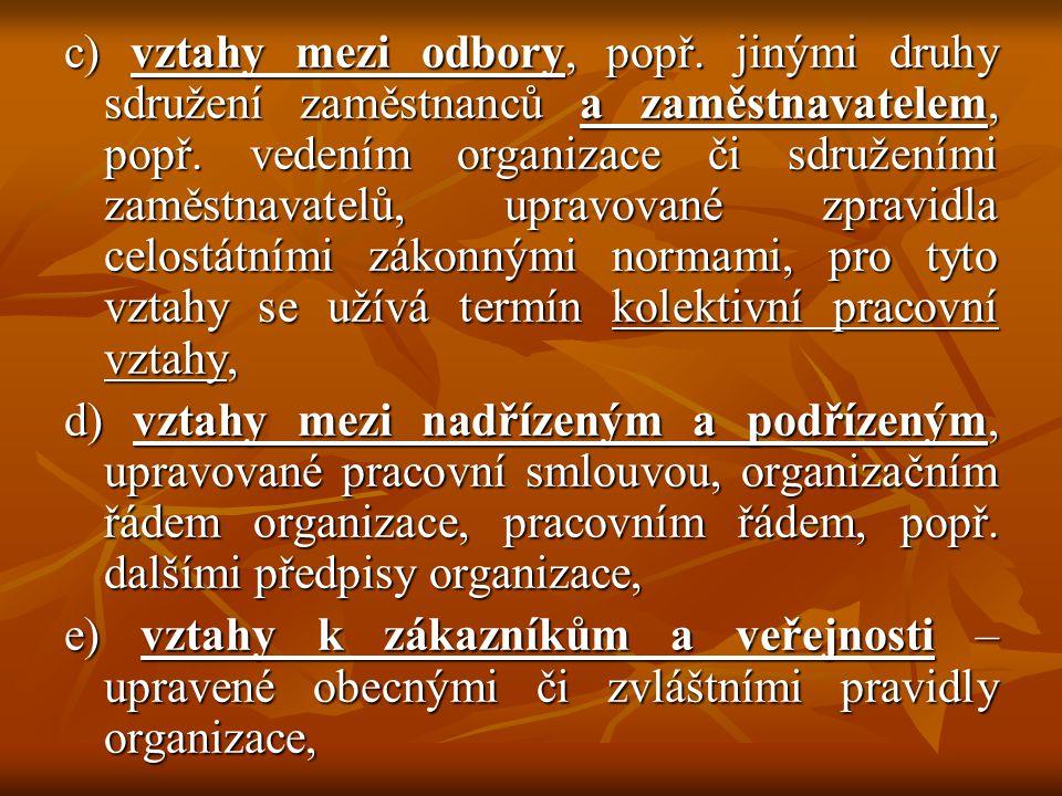 c) vztahy mezi odbory, popř.jinými druhy sdružení zaměstnanců a zaměstnavatelem, popř.