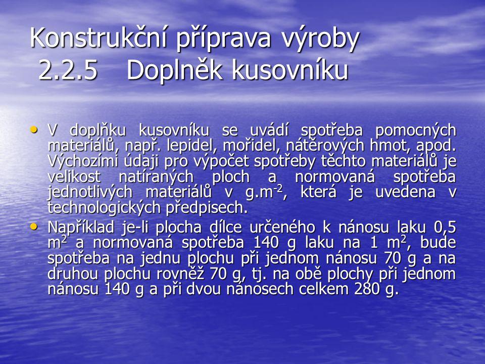 Konstrukční příprava výroby 2.2.4 Kusovník Tiskopis kusovníku Tiskopis kusovníku Pro školské účely lze použit zjednodušený kusovník ve formě tabulky u