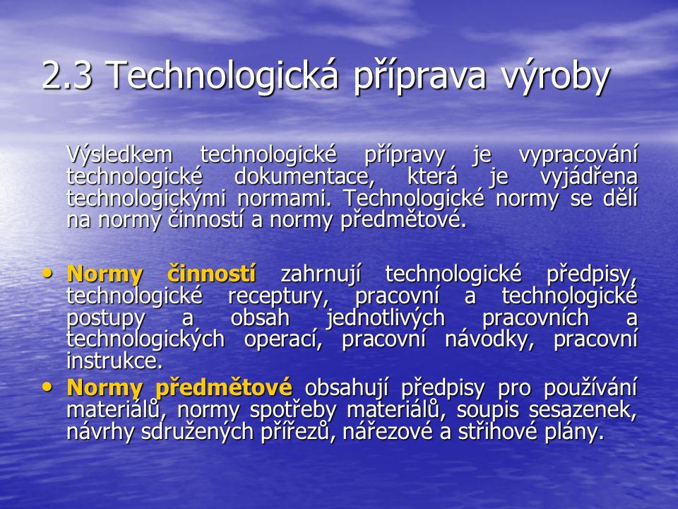 2.3 Technologická příprava výroby Hlavní náplní technologické přípravy je určení pracovních způsobů a sledu pracovních technologických operací. Techno