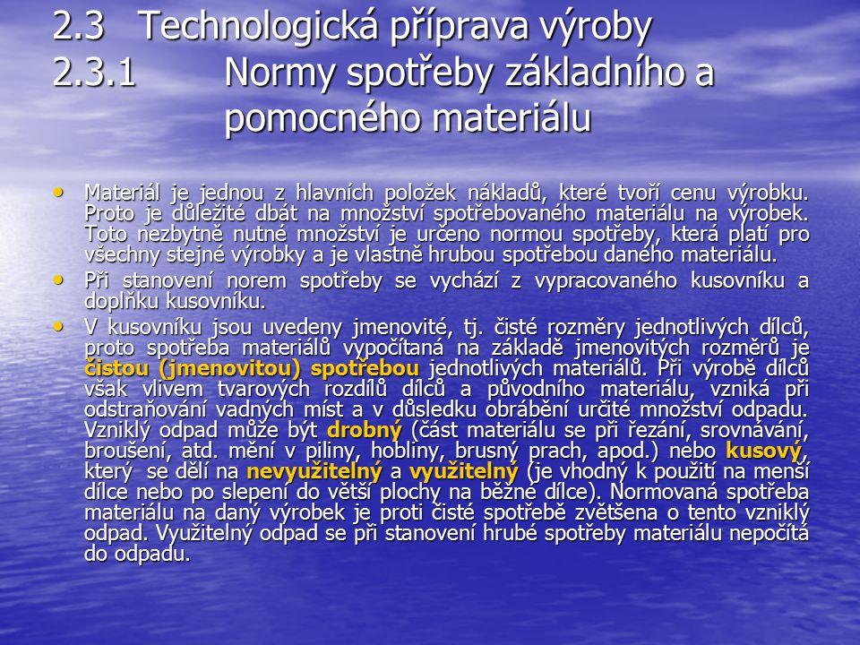2.3 Technologická příprava výroby Výsledkem technologické přípravy je vypracování technologické dokumentace, která je vyjádřena technologickými normam
