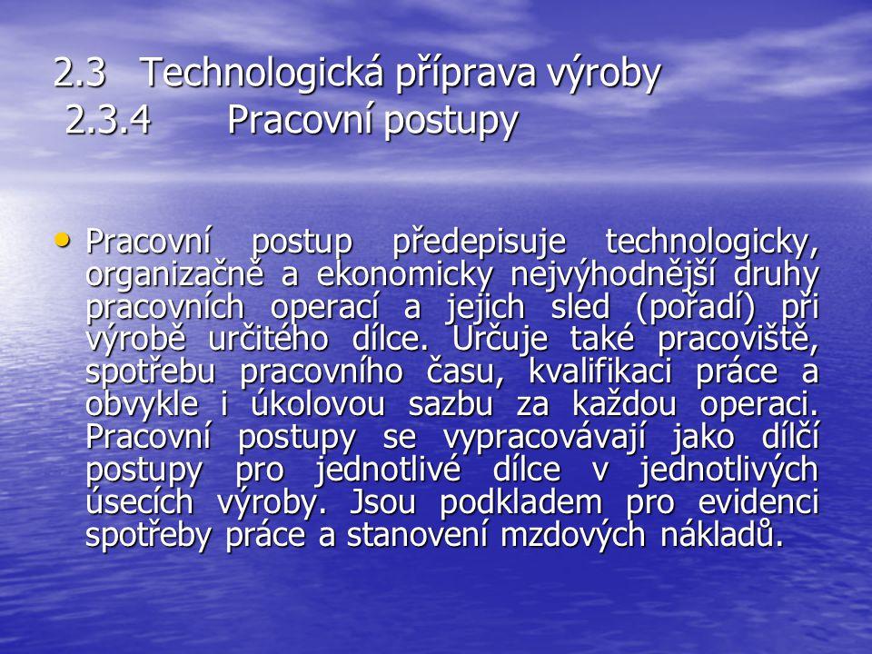 2.3Technologická příprava výroby 2.3.3Výrobní postupy Výrobní postup je slovní nebo grafický přehled sledu a obsahu výrobních operací při výrobě určit