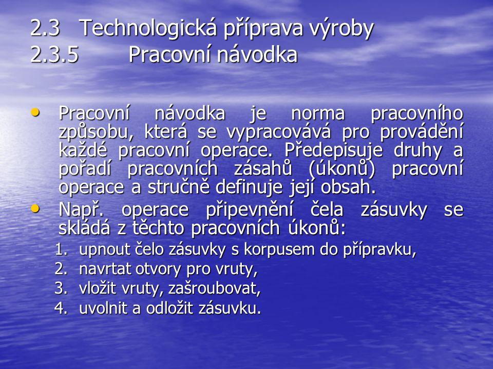 2.3Technologická příprava výroby 2.3.4Pracovní postupy Pracovní postup předepisuje technologicky, organizačně a ekonomicky nejvýhodnější druhy pracovn