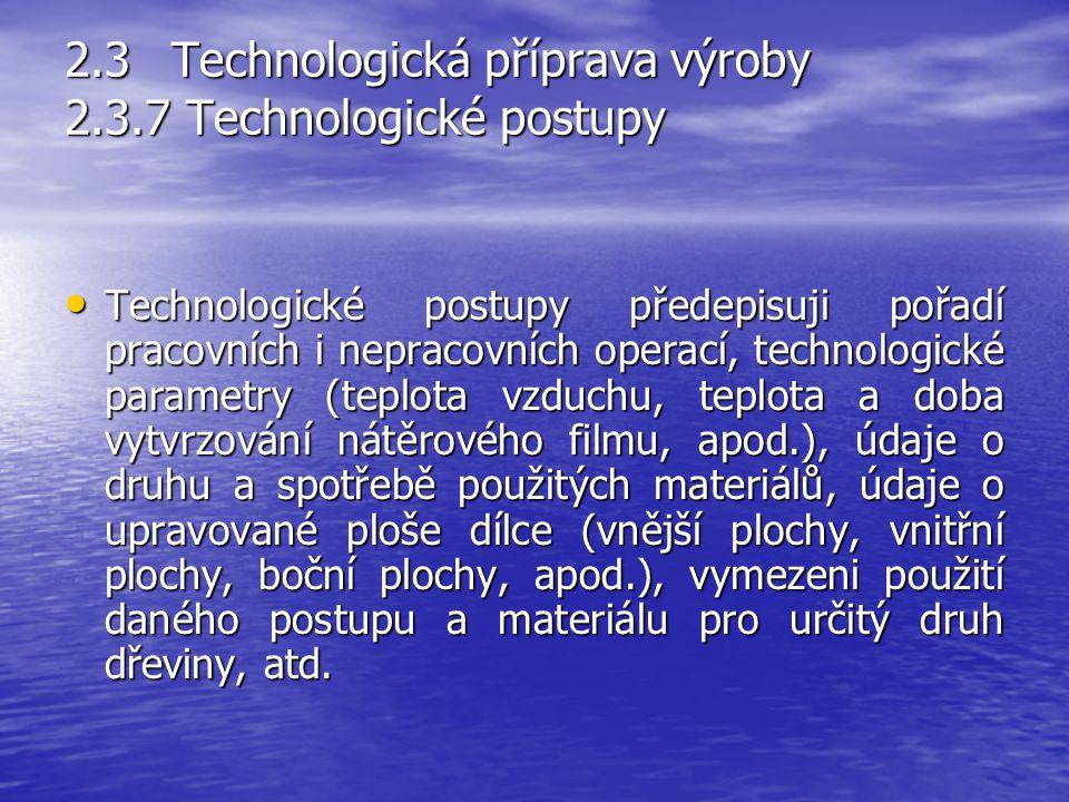 2.3Technologická příprava výroby 2.3.6Pracovní instrukce Pracovní instrukce určují základní povinnosti pracovníků. Vymezují povinnosti obsluhy daného