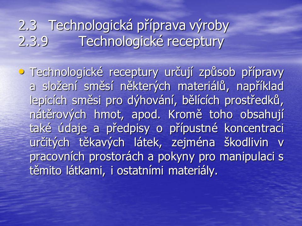 2.3Technologická příprava výroby 2.3.8Technologické předpisy Technologické předpisy jsou závazné technologické normy vypracované pro každou jednotlivo