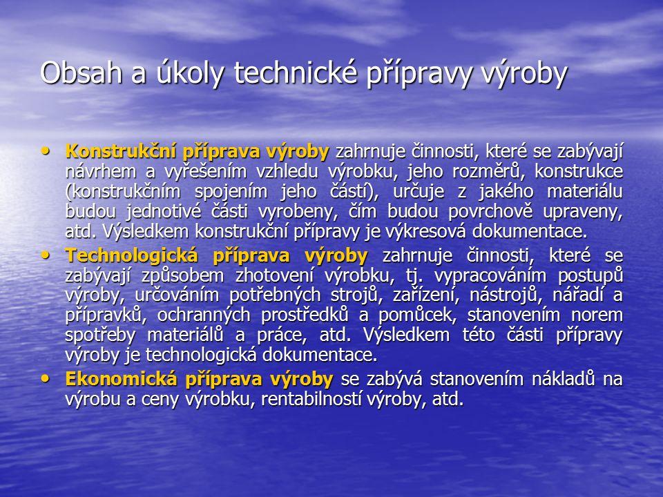2.1Obsah a úkoly technické přípravy výroby Technická příprava výroby (TPV) je souhrn technických, technologických, organizačních a ekonomických opatře