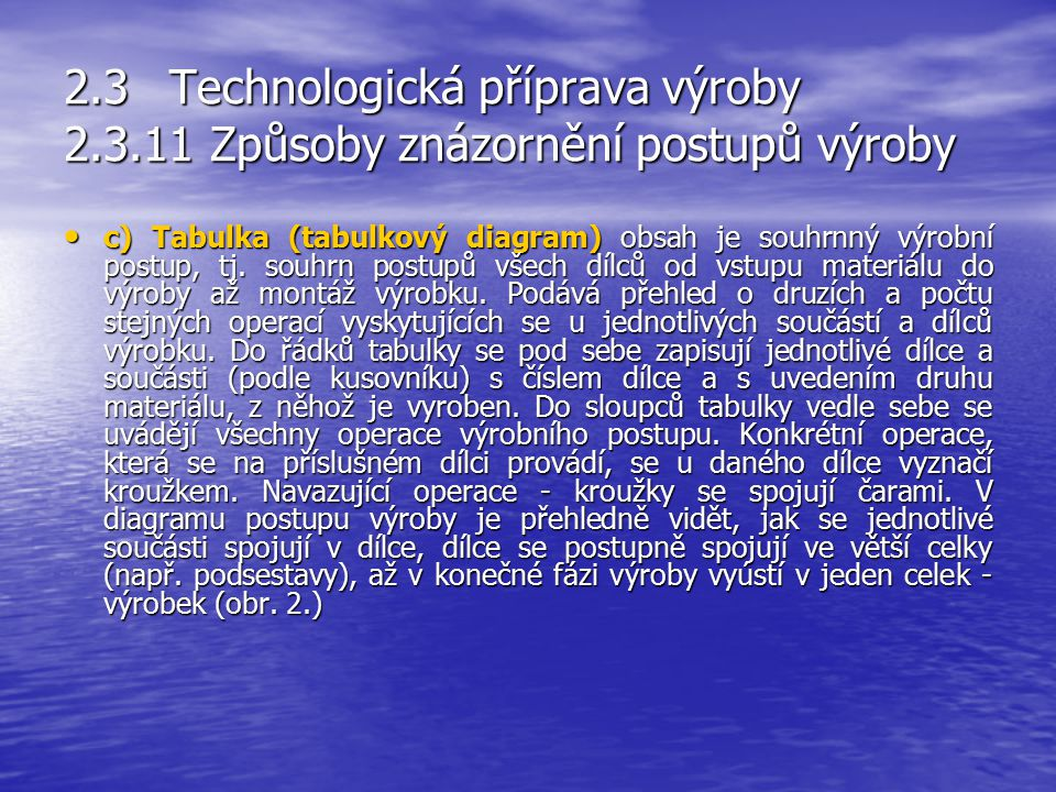 2.3Technologická příprava výroby 2.3.11 Způsoby znázornění postupů výroby b) Popisem (slovy) se vypracovávají dílčí postupy pracovní pro jednotlivé dí
