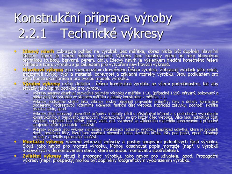 Konstrukční příprava výroby 2.2.1Technické výkresy Kromě výkresů, které jsou součástí výsledné technické dokumentace výrobku, počítáme k technickým vý
