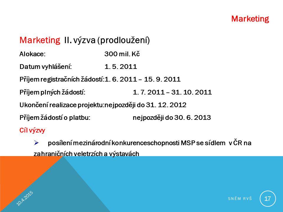Marketing II. výzva (prodloužení) Alokace: 300 mil. Kč Datum vyhlášení:1. 5. 2011 Příjem registračních žádostí:1. 6. 2011 – 15. 9. 2011 Příjem plných