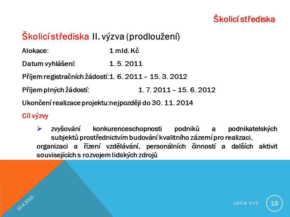 Školicí střediska Školicí střediska II. výzva (prodloužení) Alokace:1 mld. Kč Datum vyhlášení:1. 5. 2011 Příjem registračních žádostí:1. 6. 2011 – 15.