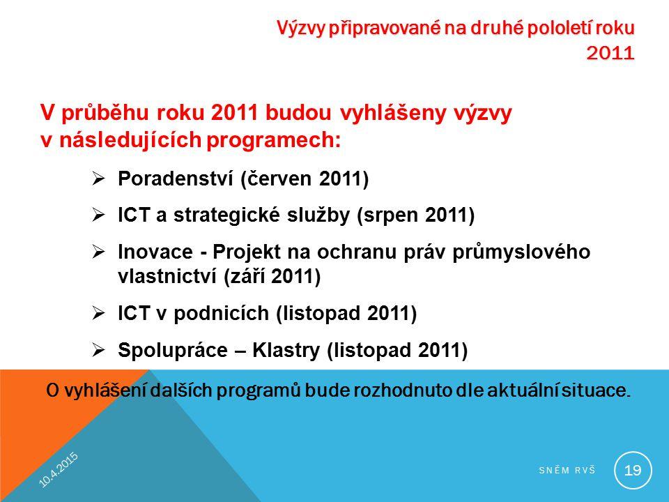 Výzvy připravované na druhé pololetí roku 2011 V průběhu roku 2011 budou vyhlášeny výzvy v následujících programech:  Poradenství (červen 2011)  ICT