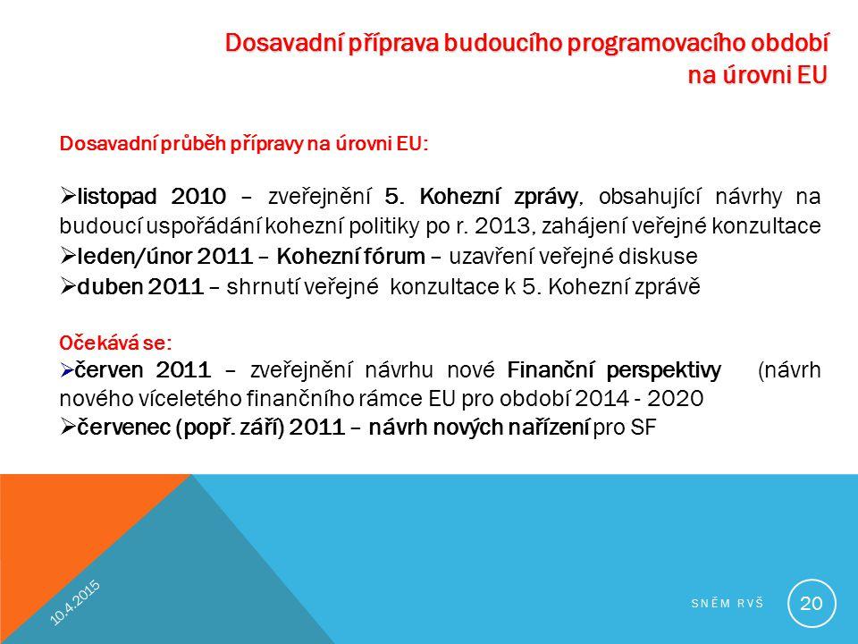 Dosavadní příprava budoucího programovacího období na úrovni EU Dosavadní průběh přípravy na úrovni EU:  listopad 2010 – zveřejnění 5. Kohezní zprávy