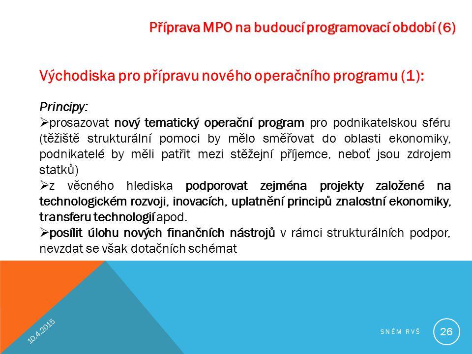 Příprava MPO na budoucí programovací období (6) Východiska pro přípravu nového operačního programu (1): Principy:  prosazovat nový tematický operační