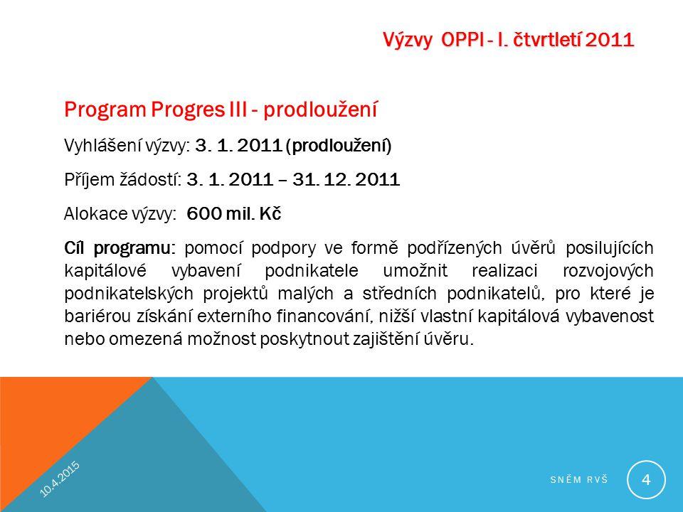 Program Progres III - prodloužení Vyhlášení výzvy: 3. 1. 2011 (prodloužení) Příjem žádostí: 3. 1. 2011 – 31. 12. 2011 Alokace výzvy: 600 mil. Kč Cíl p
