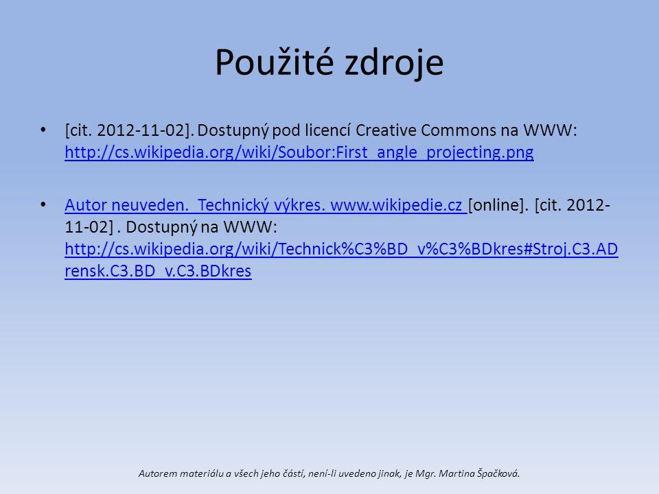 Použité zdroje [cit. 2012-11-02]. Dostupný pod licencí Creative Commons na WWW: http://cs.wikipedia.org/wiki/Soubor:First_angle_projecting.png http://