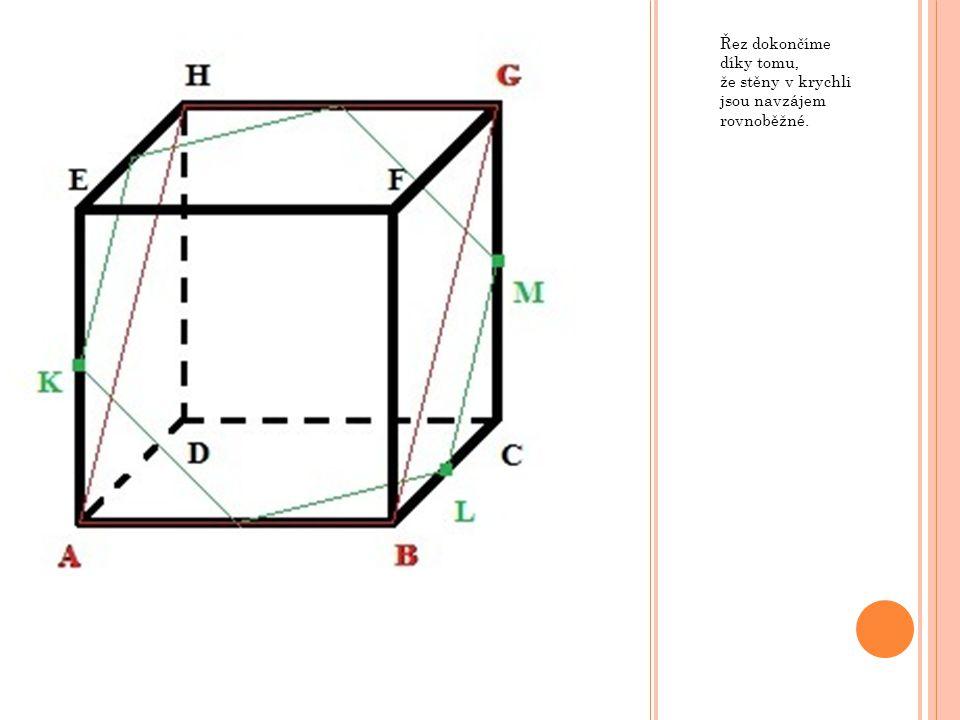 Řez dokončíme díky tomu, že stěny v krychli jsou navzájem rovnoběžné.