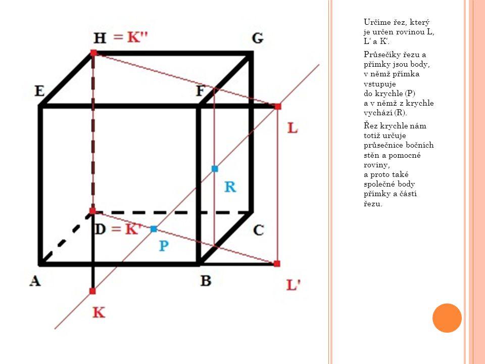 Určíme řez, který je určen rovinou L, L' a K'. Průsečíky řezu a přímky jsou body, v němž přímka vstupuje do krychle (P) a v němž z krychle vychází (R)