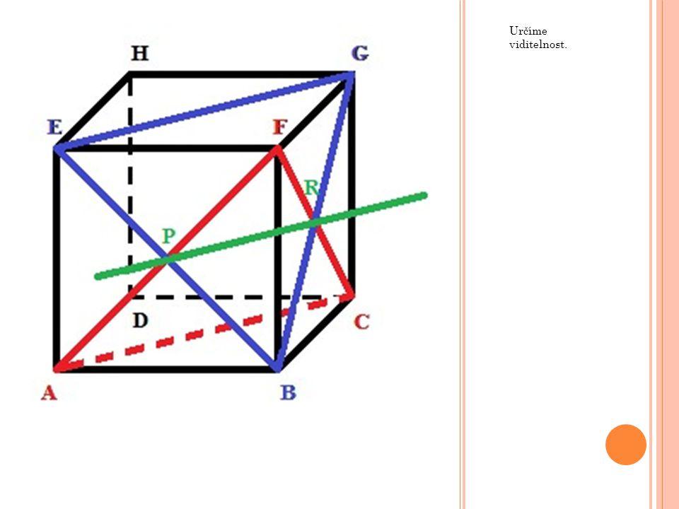 Nejprve sestrojíme rovinu. Dvojice bodů BF a FH lze spojit, poněvadž leží v jedné rovině.