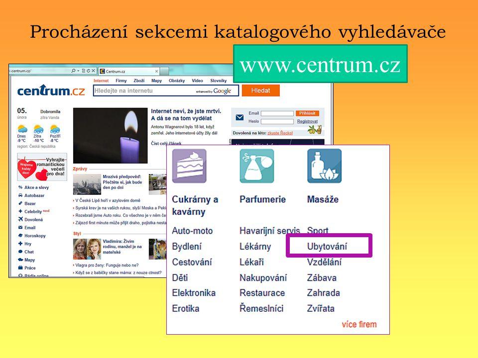 Procházení sekcemi katalogového vyhledávače www.centrum.cz