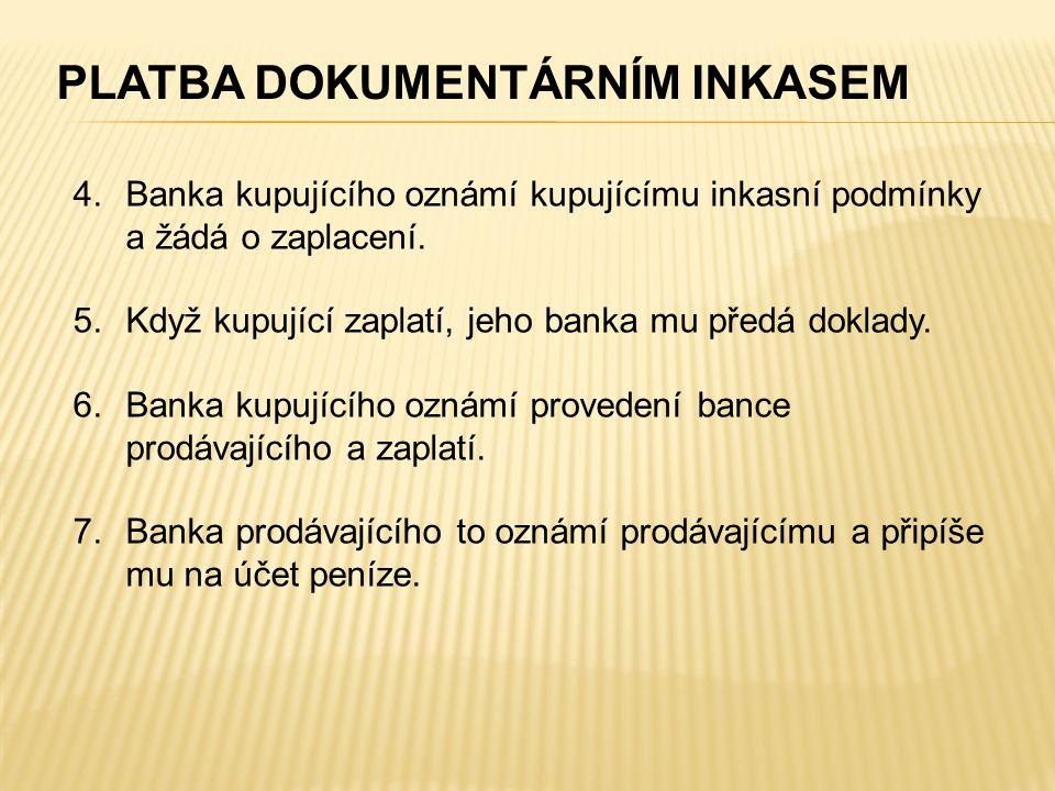 PLATBA DOKUMENTÁRNÍM INKASEM 4.Banka kupujícího oznámí kupujícímu inkasní podmínky a žádá o zaplacení. 5.Když kupující zaplatí, jeho banka mu předá do