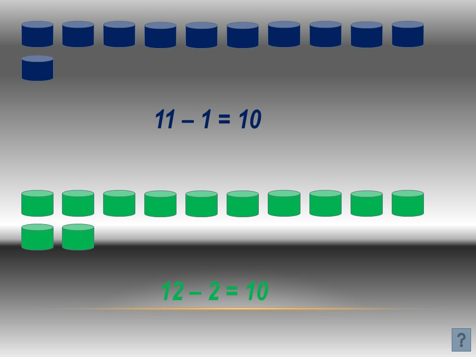11 – 1 = 10 12 – 2 = 10