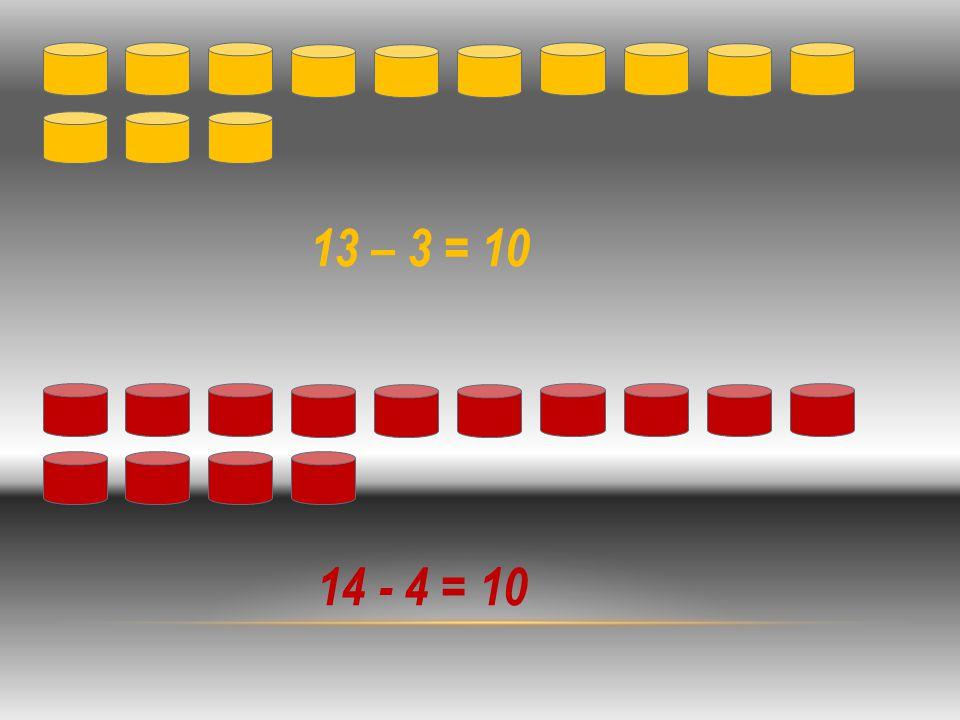 13 – 3 = 10 14 - 4 = 10