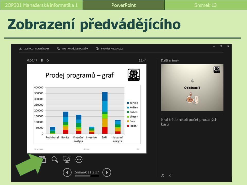 PowerPointSnímek 132OP381 Manažerská informatika 1 Zobrazení předvádějícího