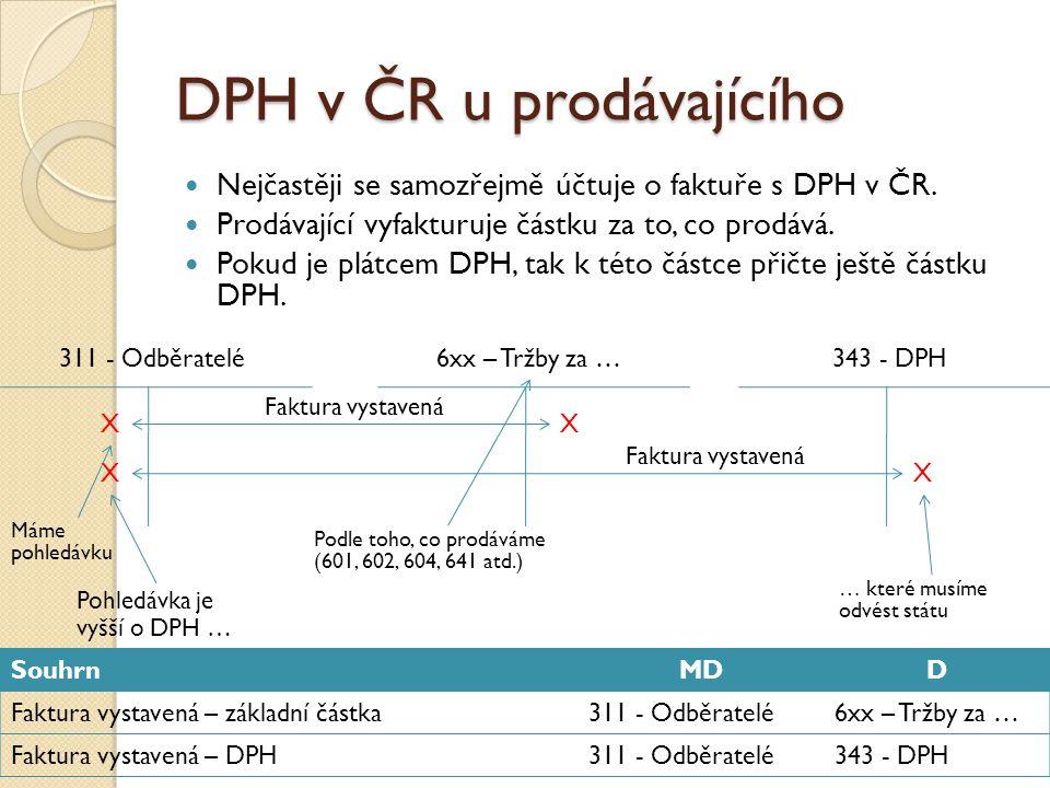 DPH v ČR u prodávajícího Nejčastěji se samozřejmě účtuje o faktuře s DPH v ČR. Prodávající vyfakturuje částku za to, co prodává. Pokud je plátcem DPH,