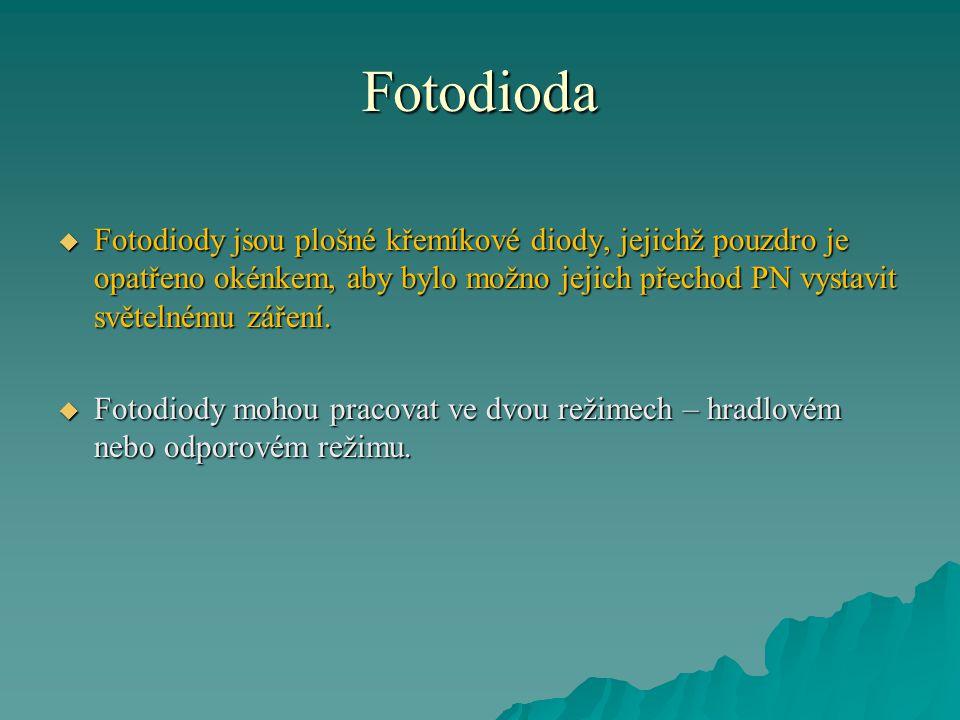 Fotodioda  Fotodiody jsou plošné křemíkové diody, jejichž pouzdro je opatřeno okénkem, aby bylo možno jejich přechod PN vystavit světelnému záření. 