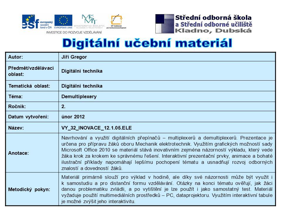 Autor:Jiří Gregor Předmět/vzdělávací oblast: Digitální technika Tematická oblast:Digitální technika Téma:Demultiplexery Ročník:2.