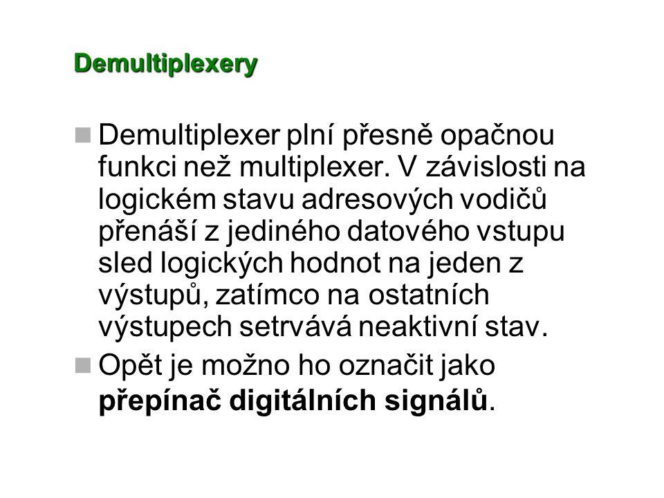 Demultiplexery Na základě zkušeností s navrhováním multiplexeru navrhněme logický obvod, splňující funkci přepínače, a to propojení jednoho datového vstupu D s některým logickým výstupem Y1, Y2 prostřednictvím adresového vstupu A.