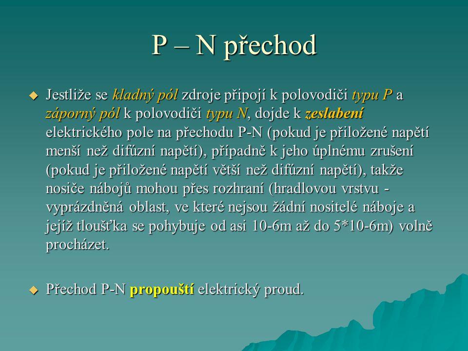 P – N přechod Obr. 2 Závěrně polarizovaný P – N přechod