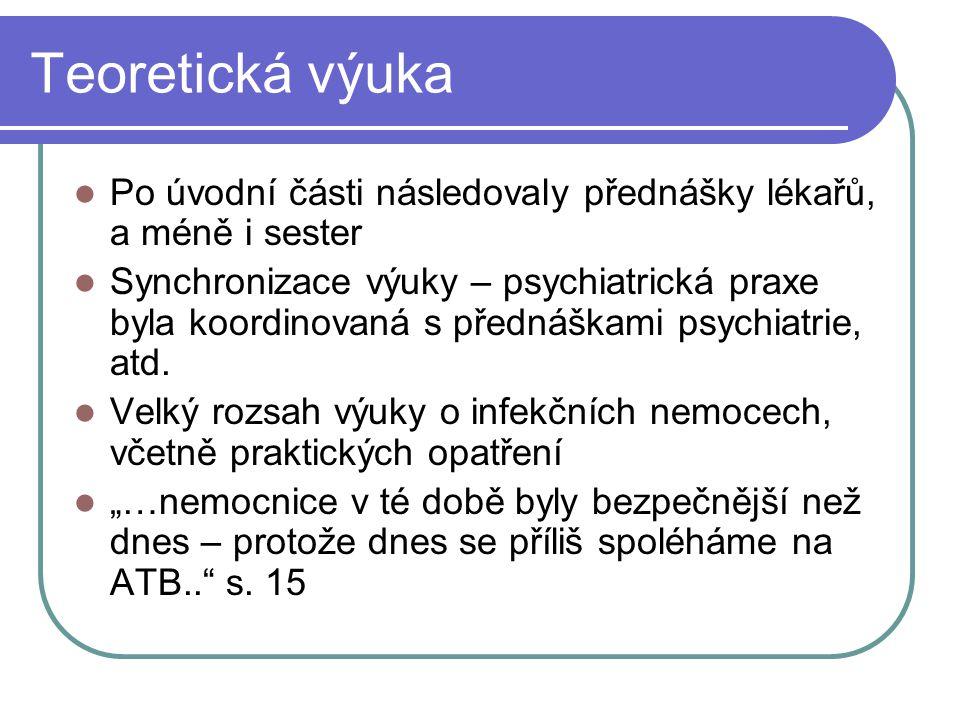 Teoretická výuka Po úvodní části následovaly přednášky lékařů, a méně i sester Synchronizace výuky – psychiatrická praxe byla koordinovaná s přednáška