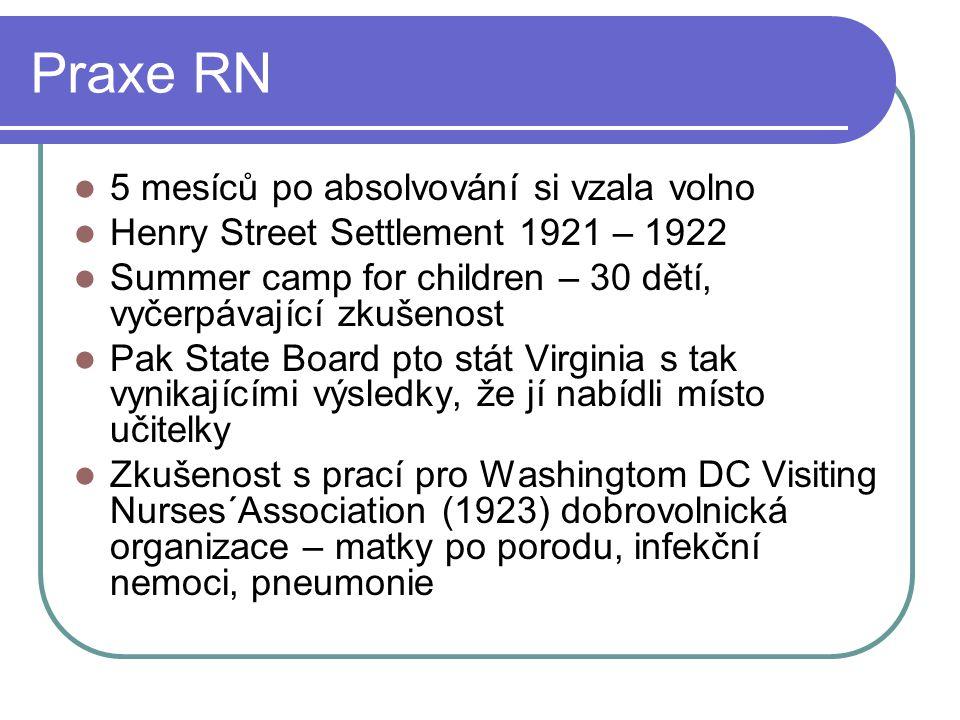 Praxe RN 5 mesíců po absolvování si vzala volno Henry Street Settlement 1921 – 1922 Summer camp for children – 30 dětí, vyčerpávající zkušenost Pak St